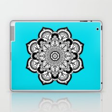 Black and White Flower in Blue Laptop & iPad Skin