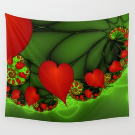 Dancing Red Hearts Fractal Art Wall Tapestry