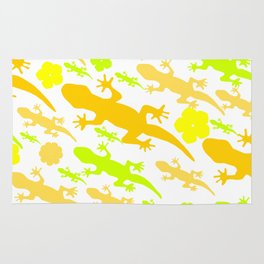 Lizards in yellow and green Rug