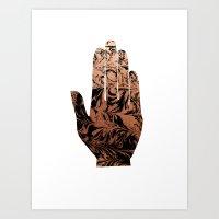 Spilled ink abstract hamsa hand copper japanese suminagashi painting Art Print