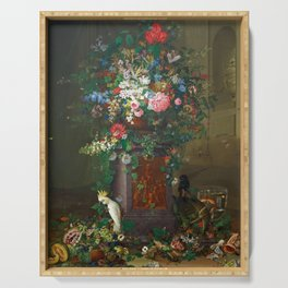 Vintage Floral Painting with Parrot Serving Tray