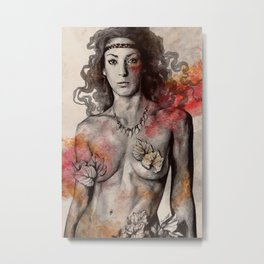 Colony Collapse Disorder (topless warrior woman with leaves on nude breasts) Metal Print