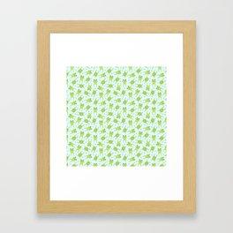 Kawaii Happy Frogs on Blue Framed Art Print