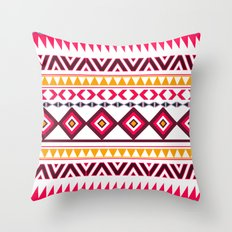 Pink Orange Bright Andes Abstract Aztec Pattern Throw Pillow
