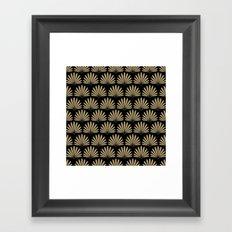 Tan & Black Daisies Framed Art Print