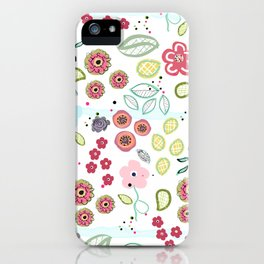 Abstract Summer Flowers Illustration Textile Pattern iPhone Case