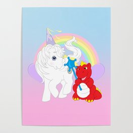 g1 my little pony princess tiffany and fiery the dragon Poster