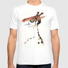 The Masquerade:  The Giraffe Mens Fitted Tee White MEDIUM