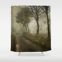 poetry Shower Curtains featuring The Poetry of Fog by Sarah Jarrett Art