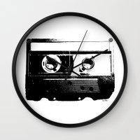 cassette Wall Clocks featuring CASSETTE by by INK! - Sandie Dolleris Thomsen