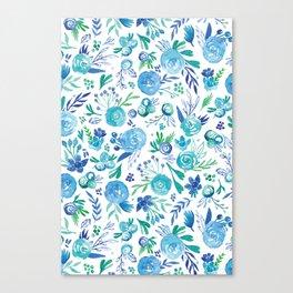 Blue Floral #1 Canvas Print