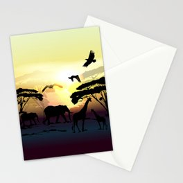 Savanna landscape with animals. African illustration Stationery Cards