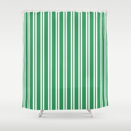 Kelly Green and White Wide Small Wide Stripes Shower Curtain