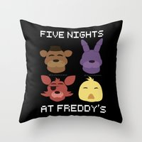 fnaf Throw Pillows featuring The FNAF Gang by AjaSama