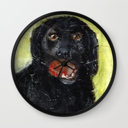 Dog with Red Ball Wall Clock