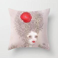 Rose in hair Throw Pillow