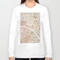 paris map Long Sleeve T-shirts featuring Paris map by Mapsland