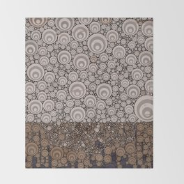 Groovy Brown Taupe Grey Circular Abstract Throw Blanket