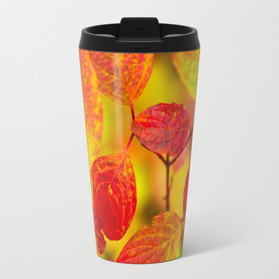 Red autumn leaves Metal Travel Mug