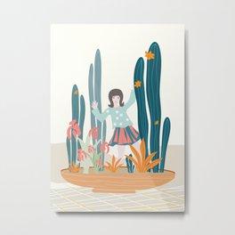 Waving Girl in a Pot Metal Print