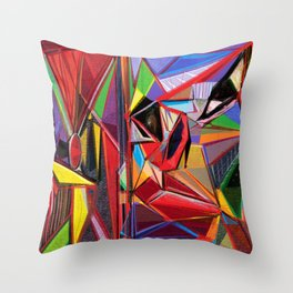 The Red Stiletto, a digital abstract artwork Throw Pillow