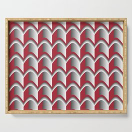 Abstract Red&Grey Pattern Serving Tray