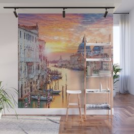 Venice, Italy Grand Canal Sunset landscape painting Wall Mural