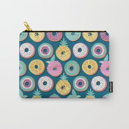 Undercover donuts // turquoise background pastel colors fruit donuts Carry-All Pouch