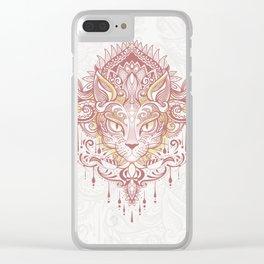 Cat mandala Clear iPhone Case
