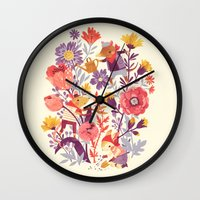 animal crew Wall Clocks featuring The Garden Crew by Teagan White