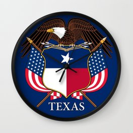 Texas flag and eagle crest concept Wall Clock