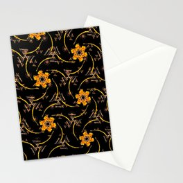 orange yellow brown black floral geometric pattern Stationery Cards