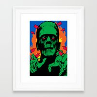 frankenstein Framed Art Prints featuring Frankenstein by Sellergren Design - Art is the Enemy