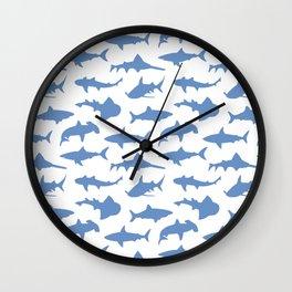 Sharks in Danube Blue Wall Clock