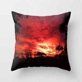 Sunset at the Dog Park Throw Pillow