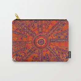 Orange Wildflower Sunshine II // 18th Century Colorful Rusty Red Bright Blue Metallic Happy Pattern Carry-All Pouch