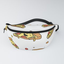 Cute Smiling Happy Pizza Pattern on white background Fanny Pack