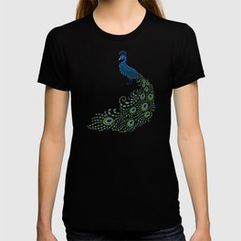 Jeweled Peacock on Black T-shirt