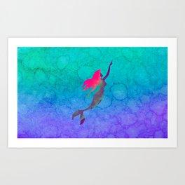 Ariel, The Little Mermaid Ombre Watercolor Art Print