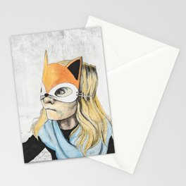Fox Mask Girl Stationery Cards