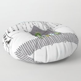 Christmas Cabin In The Snowy Woods Floor Pillow