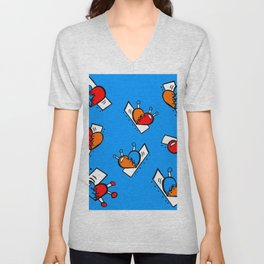 Hearts with Stitches - Blue Red Orange - Bright Blue Unisex V-Neck