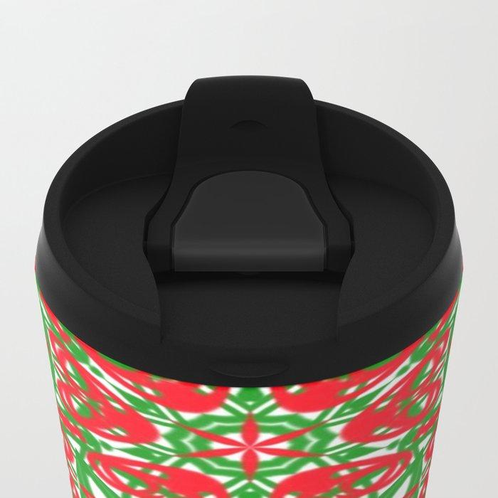 Red, Green and White Kaleidoscope 3375 Metal Travel Mug