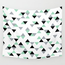 Triangles Mint Grey Wall Tapestry