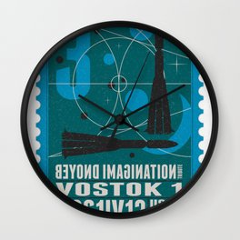 Beyond imagination: Vostok 1 postage stamp  Wall Clock