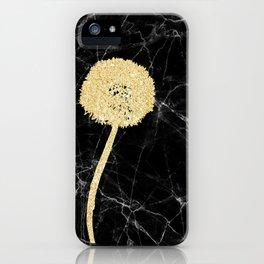 Golden Dandelion on Black Marble iPhone Case