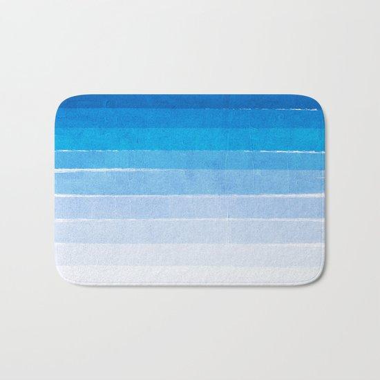Blue Ombre Brushstroke - Summer, Beach, Ocean, Water, LA Cute trendy, painterly art Bath Mat