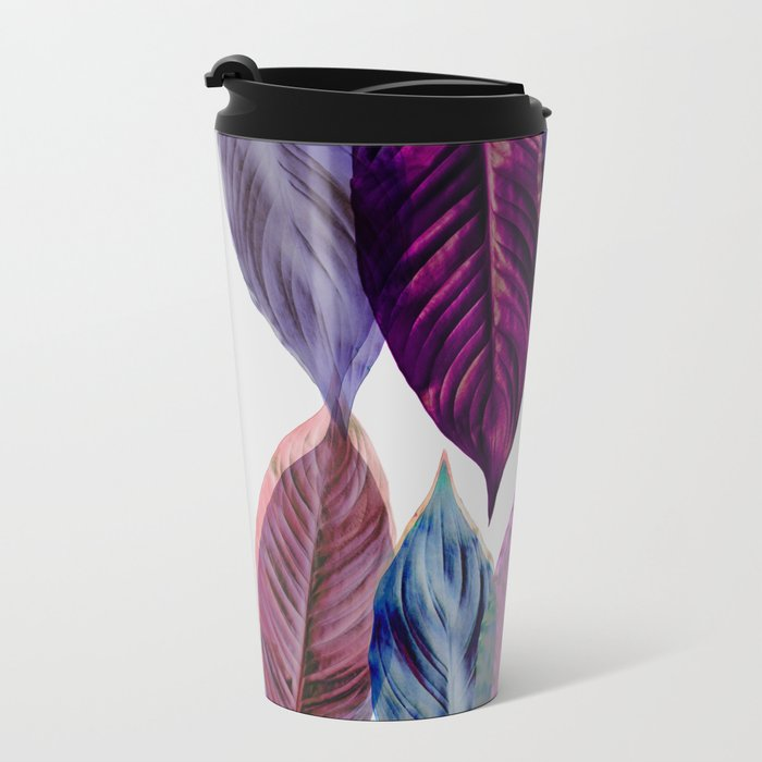 Pink Leaves  Travel Mug