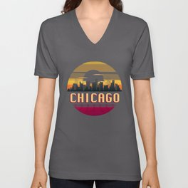 Chicago Vintage Sunset Skyline Retro Aestheic Style design Unisex V-Neck