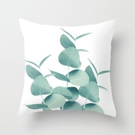 Eucalyptus Leaves Green White #1 #foliage #decor #art #society6 Throw Pillow